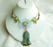 Blue Green Flower Glass Beads Necklace with Extension
