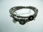 Ladies Fashion Metallic Leather Bracelet w/ White Tone Stainless Steel Slides #144