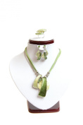 USA Seller Fashion Ring, Earring & Necklace Jewellery Set (Green & Champagne) #148