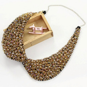 False Collar Crystal Beaded Round Necklace Chain Detachable Colour Champagne; Plus a Free Gift Cellphone Anti-dust Plug
