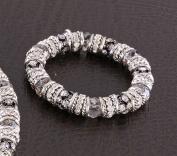Gunmetal & Antique Silver Metal, CCB & Rhinestone Bracelet