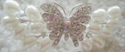 Bridal Butterfly Faux Pearl and Crystal Hair Barette - Gorgeous - Perfect for Bride/graduation/sweet Sixteen