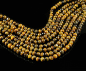 A Lustrous Natural Tiger's Eye Gemstone Beads String Strand 36cm