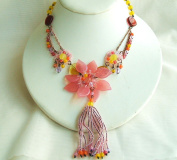 Pink Flower Glass Beads Necklace with Extension
