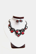 USA Seller Fashion Jewellery Jumanji Earring, Necklace Set (Red Moonstone) #142