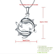 Grandindex Beautiful Silver Pendant with Two Dolphin Fine Silver