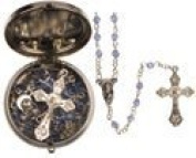 Rosarybeads4u Blue Glass Boy Baby's First Rosary Beads Rosaries - Silver Coloured Metal Box