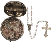Rosarybeads4u Pink Glass Girl Baby's First Rosary Beads Rosaries - Silver Coloured Metal Box