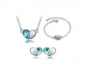 Sliver Plated -925 Sterling Silver Crystal Lovely blue heart Pendant Necklace Earrings Bracelets Sets (Earring, Necklace Pendant and Bracelets) -----(With Cutely Gift Box--Awesome gift for Holidays)-----. From USA--takes 2-6 working days ..