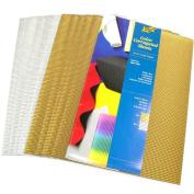Folia Colour Corrugated Paper - Corrugated Paper, Pkg of 10, Gold / SilverColors