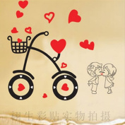 DIY Romantic Love kiss bicycle Wall Sticker Decals LW950