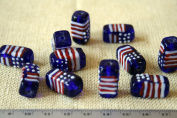 July 4th Patriotic Handmade Lampwork U.S. Flag Rectangular Glass Beads