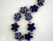 July 4th Patriotic Handmade Lampwork Blue Star Glass Beads