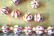 July 4th Patriotic Handmade Lampwork White Round Glass Beads