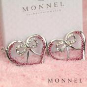 H1020 Big Size 2pcs Pink Crystal Heart Love Charm Pendant