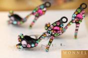 H462 Wholesale 3pcs Cute Rainbow Crystal High Heel Shoe Sandal Charm Pendant