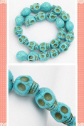1 Strand Natural Turquoise Carved Skull Loose Bead 14x18mm D0396