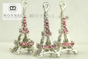 H463 Cute 3 pcs Pink Crystal Paris Eiffel Tower Charm Pendant