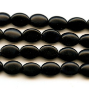 Matte Onyx 10x14mm Oval Beads 8 Inch Strand