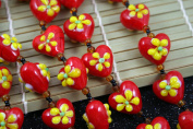Valentine Solid Red Heart(With Yellow Fiori) Lampwork Glass Beads