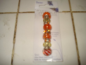 Darice Mix and Mingle Metal Lined Beads Orange and White