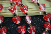 Valentine Clear Pink Heart(With Red Ribbon) Lampwork Glass Beads