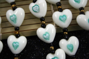 Valentine White Heart(With Aqua Heart) Lampwork Glass Beads