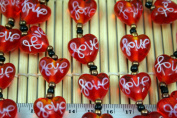 Valentine Clear Red Heart(With White Love) Lampwork Glass Beads