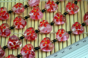 Valentine Clear Pink Heart(With Red Fiori) Lampwork Glass Beads