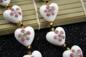 Valentine White Heart (With Light Brown Fiori) Lampwork Glass Beads