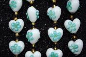 Valentine White Heart(With Aqua Fiori) Lampwork Glass Beads
