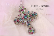 R03 Elegant Rainbow Crystal Cross Charm Pendant Necklace Clasp 43cm