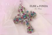 R03 Elegant Rainbow Crystal Cross Charm Pendant Necklace Clasp 43cm