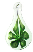 Bead Collection 41309 Glass Leaf with Green Flower Pendant, 60 by 32mm