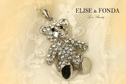 R13 Cute Crystal Teddy Bear Charm Pendant Necklace Clasp 43cm