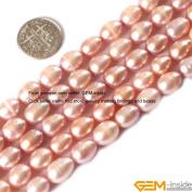 Gem-Inside 8-9X9-10mm Egg Shape Black Cultured Pearl Beads Strand 15 Inches