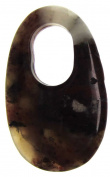 Bead Collection 41331 Semi Precious Brecciated Jasper Hollow Oval Pendant, 40 by 25mm