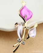 Crystal Lovely Bling Pink Flower Brooch Pin