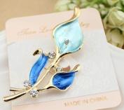 Crystal Lovely Bling Blue Flower Brooch Pin