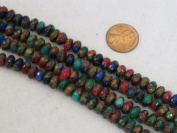 Mosaic Quartz Beads Multi-colour 5x8mm Faceted Rondelle 80pcs 15''per Stand