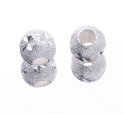 EOZY 20pcs 6*6mm Silver-plated Hole 3mm Round Beads Spacer Fit DIY Bracelet Necklace Earrings Jewellery Making Findings