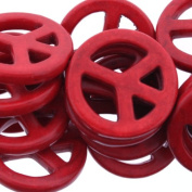 Dyed Red Turquoise Magnesite : Peace Sign-Plain - 25mm Height, 25mm Width, 4m...