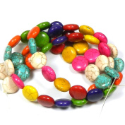 "16mm Coin Chalk Turquoise (Dyed / Stabilised) Mix Gemstone Beads Approx 30"" of Loose Strand Semi Precious Stone Beads"