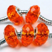 5 Red Crystal Glass Faceted Big Hole Beads Findings C61