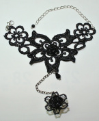 Gothic Goth Lolita Retro Vampire Rose Flower Ring Lace Bracelet