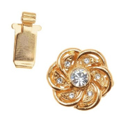 23K Gold Plated Box Clasp - Flower Design With 7. ELEMENTS - 15mm