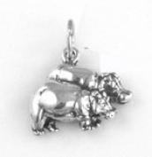 Sterling Silver Noah's Ark Charm - Hippos Charm Item #12001