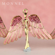 H450 Wholesale 3pcs Cute Pink Angel Wing Crystal Charm Pendant