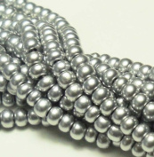 Bright Silver Metallic Czech 6/0 Seed Bead on Loose Strung 6 String Hank Approx 900 Beads