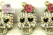 H508 Wholesale 3pcs Cute Crystal Skull Rose Charm Pendant